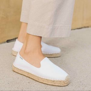 Soludos White Canvas Smoking Platform Espadrille